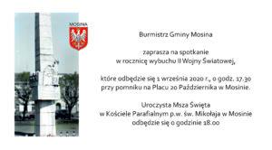 """Po lewej zdjęcie """"Pomnika pamięci"""" i herb gminy, po prawej tekst zaproszenia."""